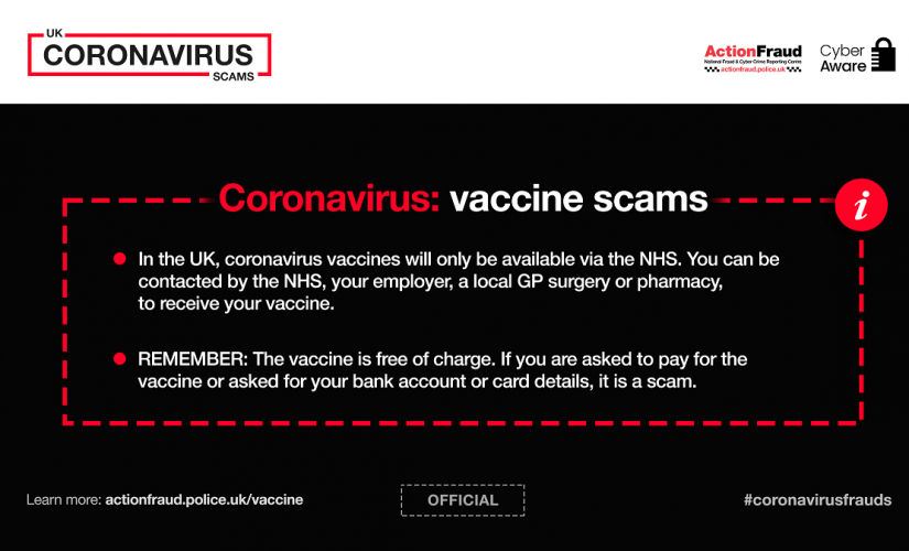 Remain alert to COVID-19 vaccine scammers